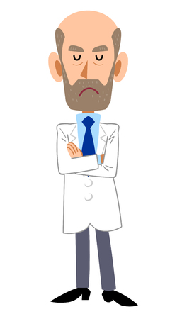 Male in white coat with arms folded, beard