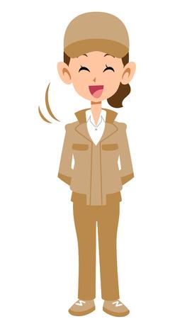 Woman in beige work clothes nodding