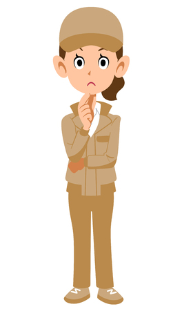 Thinking woman in beige work clothes