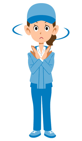 Woman in blue work clothes to refuse Vector Illustration
