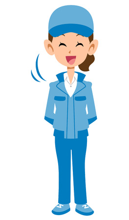 A woman in a blue workwear Illustration