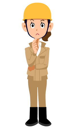 Construction site worker woman thinking beige work clothes