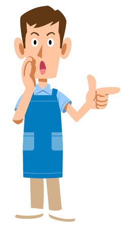 A man with an apron to point and communicate information