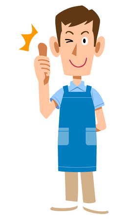 A man with an apron to thumb up