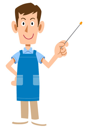 A Man with an apron holding a pointing rod