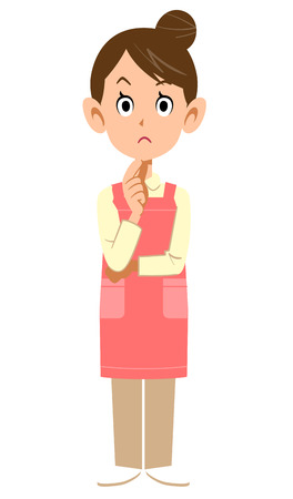 Woman with an apron to think about  イラスト・ベクター素材
