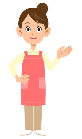 Woman with an apron to guide