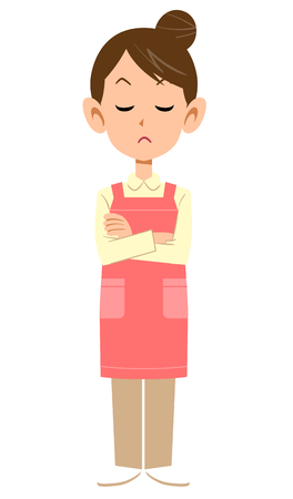 A woman with an apron that closes her arms and closes her eyes Illustration