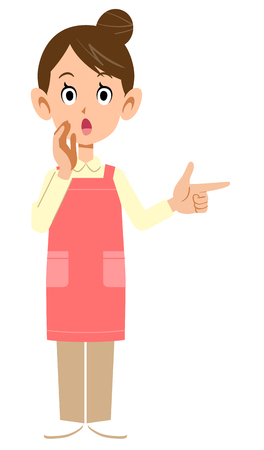 Woman with an apron pointing at a finger and telling information Çizim