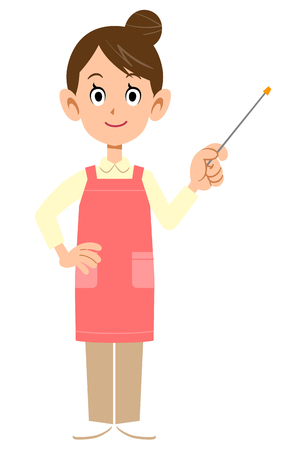 Woman with an apron holding a pointing stick