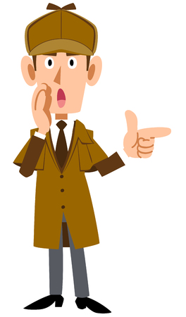 Detective man whispering with finger