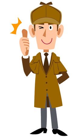 Detective man thumbs up 向量圖像