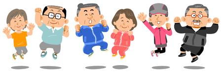 6 senior men and women who jump Vektorové ilustrace