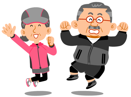 Senior men and women who jump  イラスト・ベクター素材