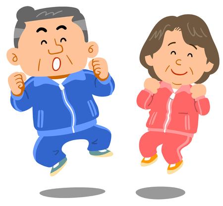 Uomini e donne anziani che saltano