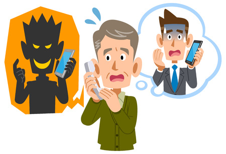 Senior man being scammed by phone fraud Stock Vector - 121643344