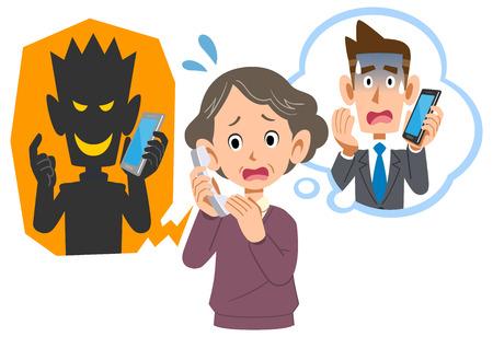 Senior vrouw wordt opgelicht door telefoonfraude Vector Illustratie