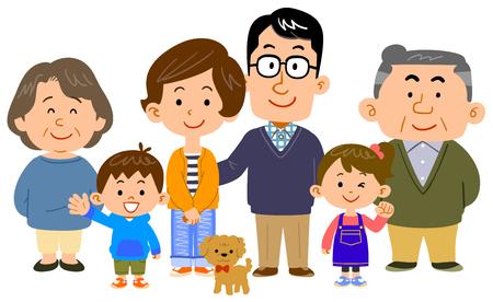 Happy three generation family  イラスト・ベクター素材