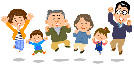 Jumping family three generations Vectores