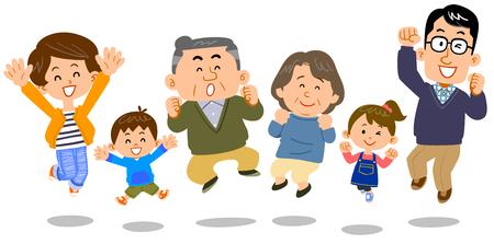 Jumping family three generations Illustration
