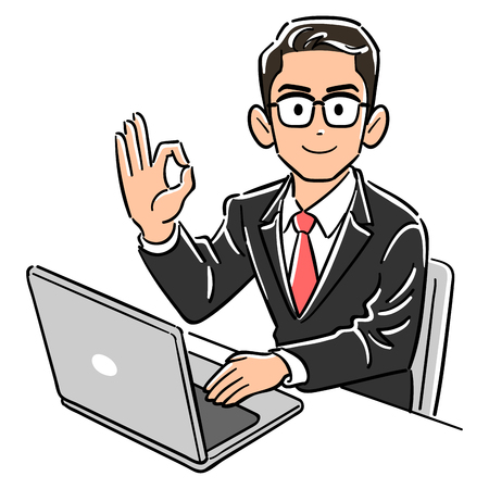 A businessman wearing glasses operating a computer gives an OK sign 矢量图像