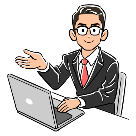 Business man wearing glasses to operate a PC guides