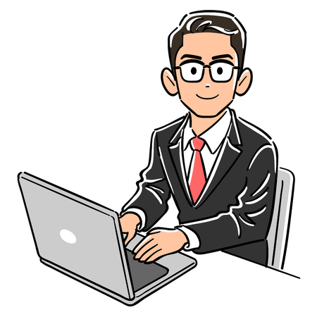Businessman with glasses operating a personal computer Ilustrace