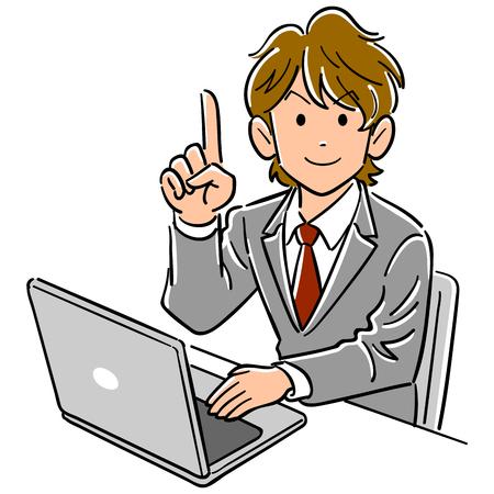 Junger Geschäftsmann, der mit Laptop arbeitet, gibt Zeigefinger