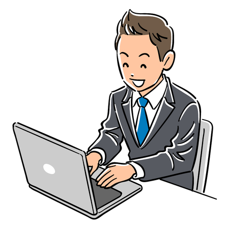 A man in a suit who operates a laptop smiles