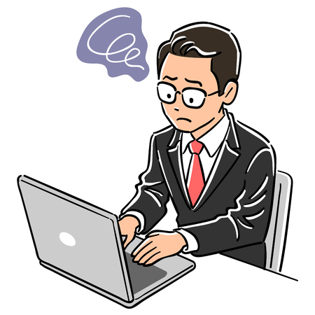 Man of manager who operates laptop computer