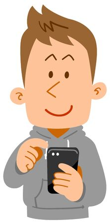 A oung man in everyday wear who operate a smartphone Stock Illustratie