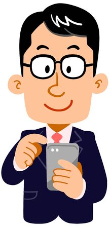 A man in a suit wearing glasses to operate a smartphone