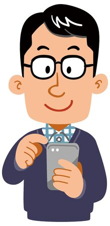 A Man  wearing glasses and everyday clothes to operate a smartphone Standard-Bild - 128723865