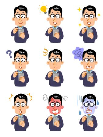 Nine different facial expressions of men wearing glasses who operate smartphones