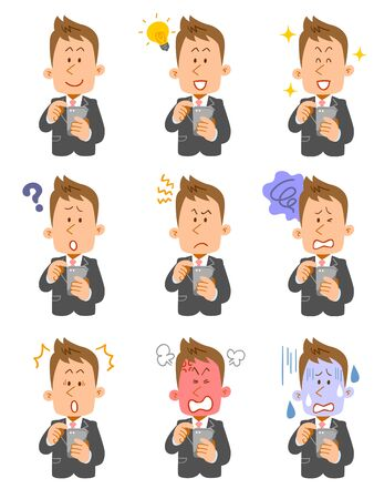 Nine expressions of young businessmen who operate smartphones 向量圖像