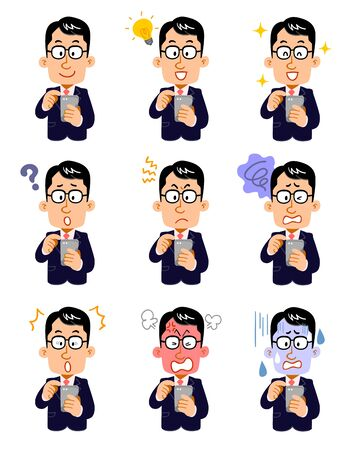Nine facial expressions of a businessman wearing glasses who operate a smartphone