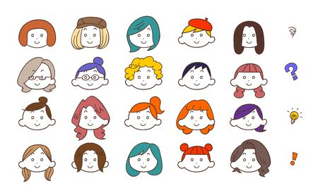 20 tipi di giovani volti femminili Vettoriali