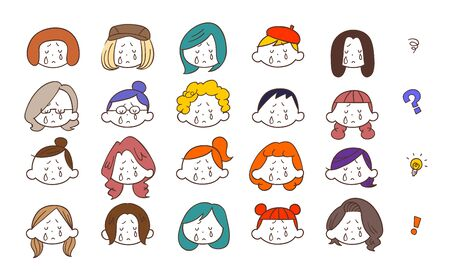 20 kinds of sad expressions of young women