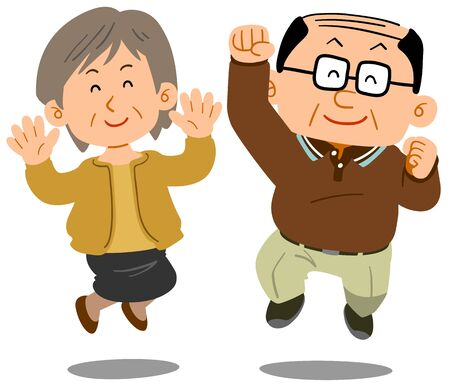 Senior couple jumping Ilustração