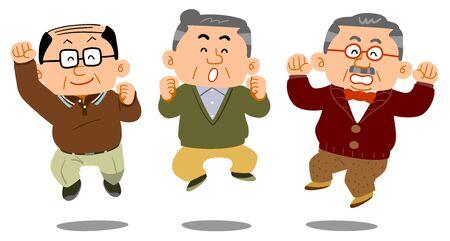 Three senior men to jump Ilustração