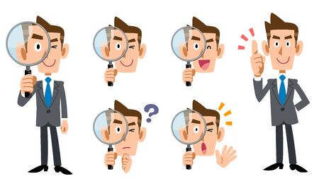 Set of full body and facial expressions of a businessman investigating with a magnifying glass Ilustração