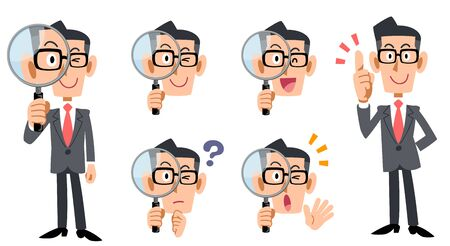 Ganzkörper- und Gesichtsausdruck eines Geschäftsmannes mit Brille, der mit einer Lupe untersucht Vektorgrafik