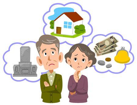 La parte superiore del corpo di una coppia di anziani preoccupata per la pensione