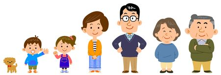 Set of family, man and woman character illustrations Ilustração