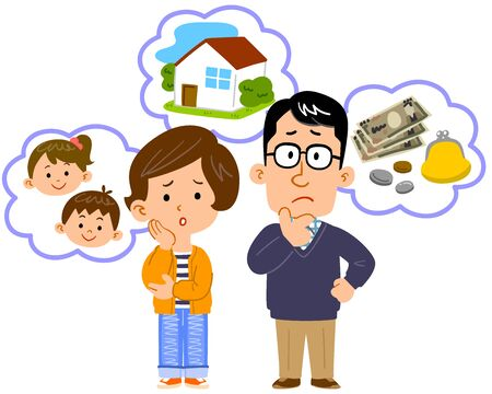 Full body illustration of couple worried about money, house, children Иллюстрация