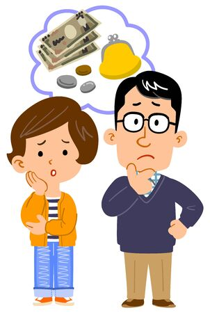 Full body illustration of couple worried about money