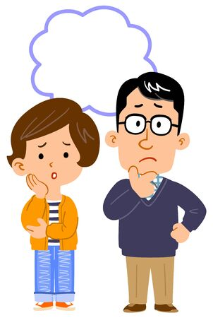 Full body illustration of couple worried about something
