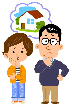 Full body illustration of couple worried about home