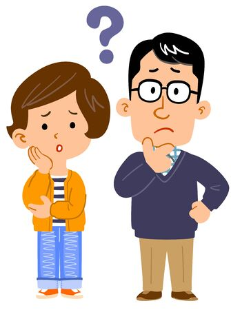 Full body illustration of couple having doubts Illustration