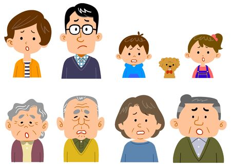 The upper body of a four-generation family Ilustrace